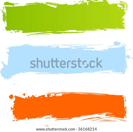 Multicolored grunge banners in three colors - stock vector