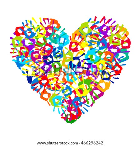 Multicolored Hand Print Heart On White Background Vector Illustration