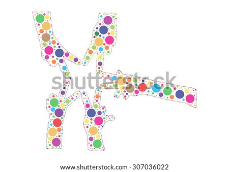 Multicolored hand shaped dots joining fingers and forming a star - stock vector