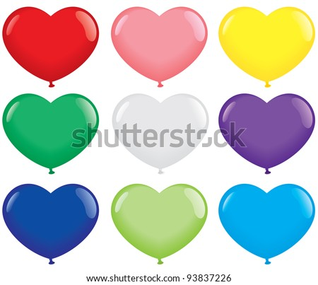 Multicolored Heart Shape Balloons. Isolated on white. Vector format