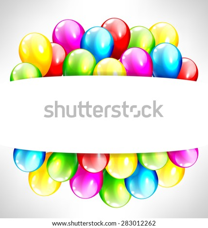 Multicolored inflatable balloons with frame on grayscale background - stock vector