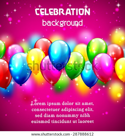 Multicolored inflatable celebration balloons on violet background - stock vector
