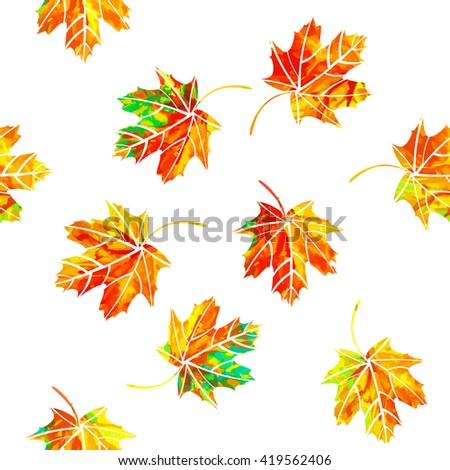 Multicolored maple leaf. seamless background of autumnal leaves. - stock vector