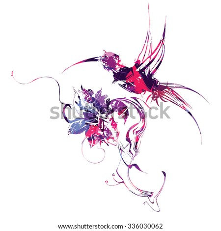 Multicolored mechanical hummingbird - stock vector