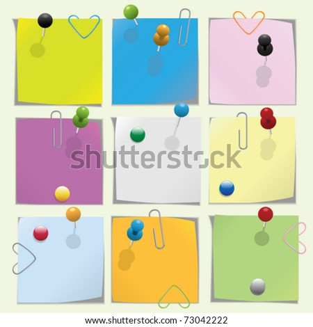 Multicolored note paper with push pins and clips collection - stock vector