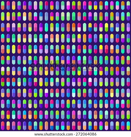 Multicolored Pill Capsules Seamless Background. EPS10 Vector - stock vector