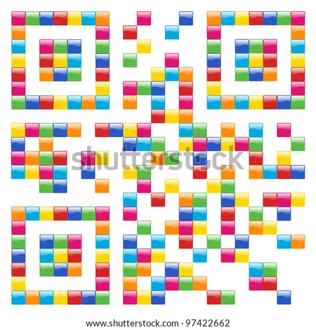 Multicolored Qr code concept design background. Vector file available. - stock vector