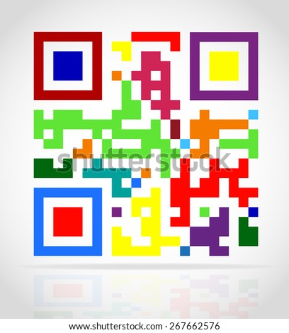 multicolored qr code vector illustration isolated on white background - stock vector