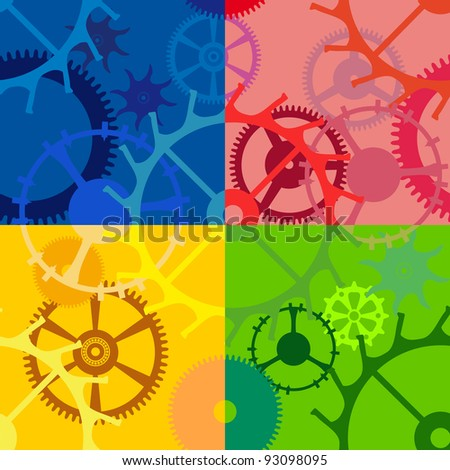 Multicolored seamless background with gears of different sizes and shapes - stock vector