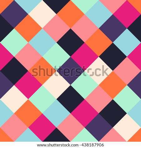 Multicolored seamless pattern with colorful squares. Simple colorful vector background. Abstract bright texture perfect for wrapping paper design. - stock vector