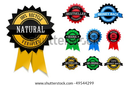 Multicolored set of label: money back, 100% free, original, natural, verified, bestseller, etc - stock vector
