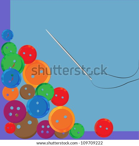 Multicolored Sewing Items. - stock vector