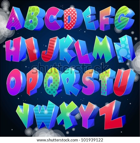 multicolored shiny alphabet with space background - stock vector