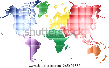 Multicolored square world map on white background, vector illustration. - stock vector