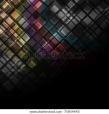 Multicolored squares on black background. Eps 10 - stock vector
