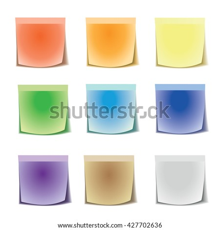 Multicolored stick note isolated on white background. Set stickers all colors of the rainbow. Eps 10 vector file.  - stock vector