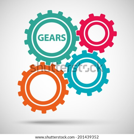 multicolored toothed gears (cogs) is meshed on gray background. vector illustration eps10 - stock vector