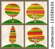 Multicolored transparent banded tree set. EPS10 file version. This illustration contains transparencies and is layered for easy manipulation and custom coloring - stock photo