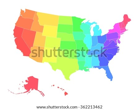 Map United States America Usa Four Stock Vector - Simple us map