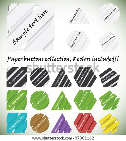 Multicolored vector collection of original paper origami buttons, 8 colors included