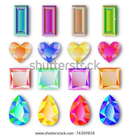 Multicolored Vector Gemstones - stock vector