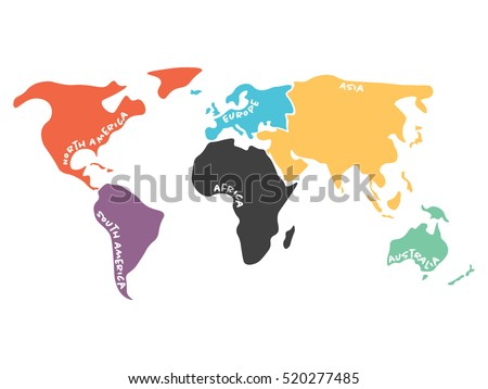 Multicolored world map divided six continents stock vector hd multicolored world map divided to six continents in different colors north america south america gumiabroncs Images