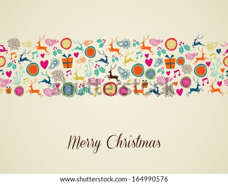 Multicolors Christmas decorations elements seamless pattern background. EPS10 vector file organized in layers for easy editing. - stock vector
