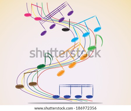 Multicolour musical notes staff background. Vector illustration.