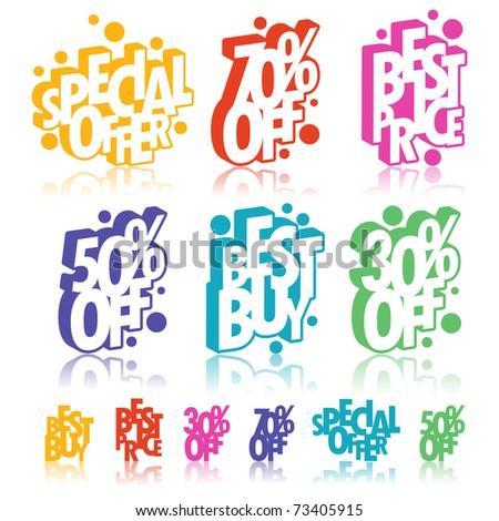 Multicolour retail signs - stock vector