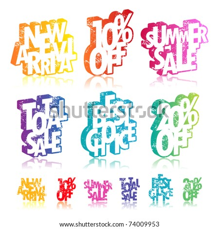 Multicolour retail signs - stock vector