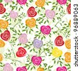 Multicoloured art vector heart, rose pattern. Seamless flower background pattern. Fabric texture. Floral vintage design. Pretty cute wallpaper. Romantic cartoon feminine filigree tile. - stock vector