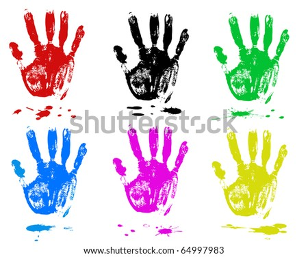 Multicoloured fingers on a white background. Sets