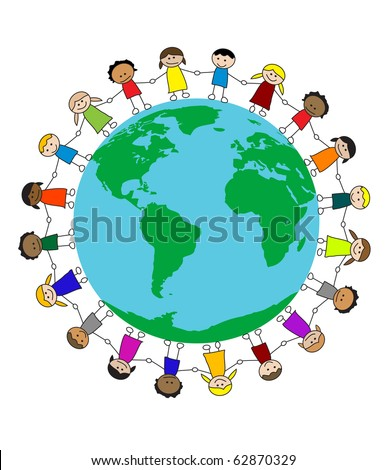 Multicultural children holding hands around the globe (eps10 vector) - stock vector