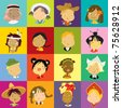multicultural children of the world - stock vector