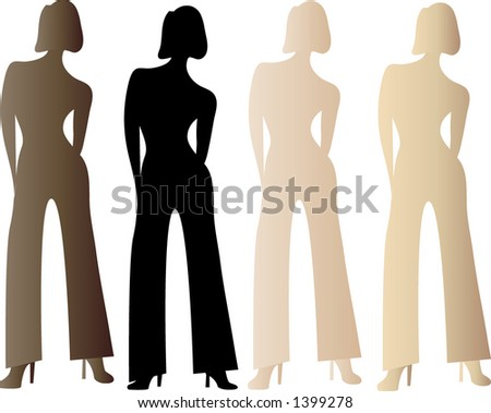 multicultural girls vector - stock vector