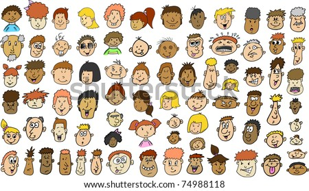 Multicultural People Face doodle sketch Vector Illustration set
