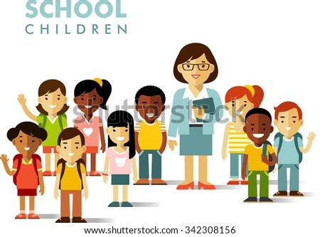 Multicultural school children group and teacher in flat style isolated on white background - stock vector