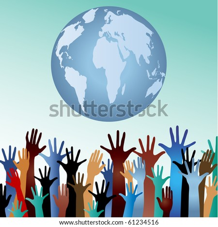 multiculturalism / environment  concept  - hands with globe