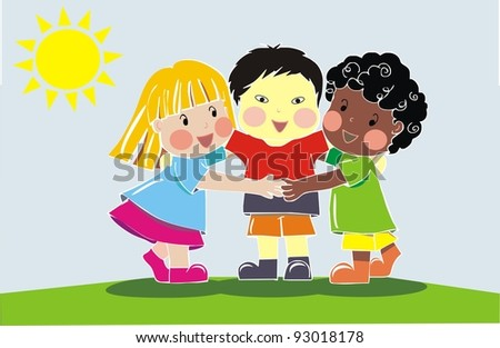 multiethnic group of friends - stock vector