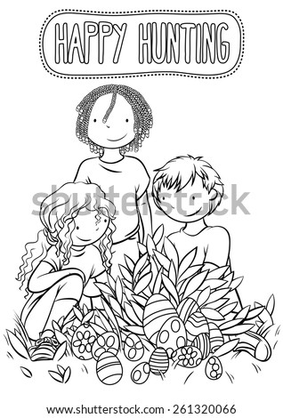 multiethnic group of happy kids hunting easter eggs together illustration for children coloring book - Children Coloring Book
