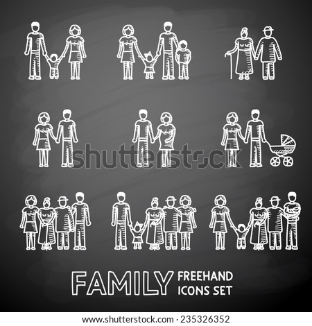 Multigenerational family freehand on a chalk board icons set with all ages family members. Vector - stock vector