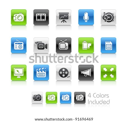 Multimedia Buttons  / The file Includes 4 color versions in different layers.