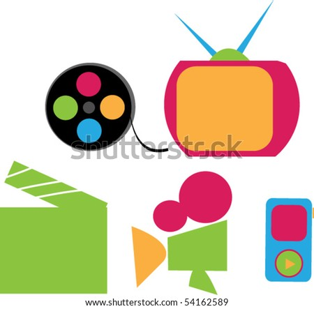multimedia colorful icon set - stock vector