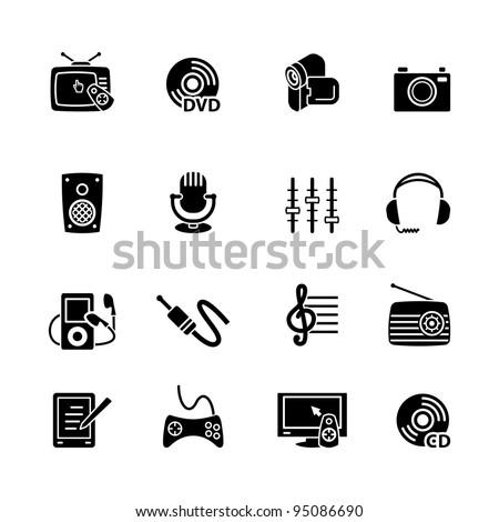 Multimedia computer icon set - stock vector
