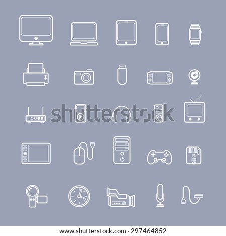 Multimedia devices vector icons set - stock vector