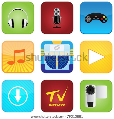 Multimedia Entertainment Icons - stock vector