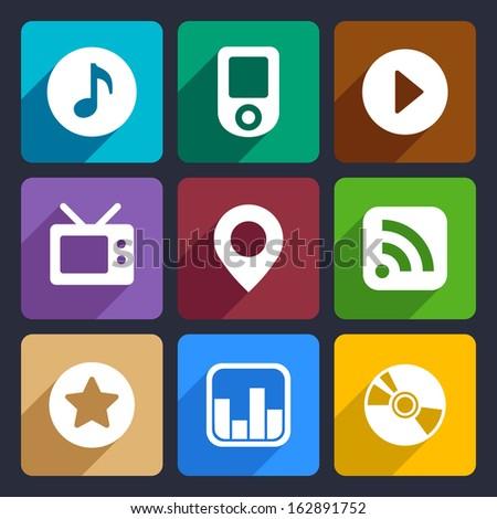 Multimedia flat icons set  1 - stock vector