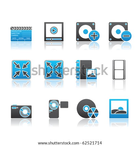 Multimedia icon set 5 - Blue Series.  Vector EPS 8 format, easy to edit. - stock vector