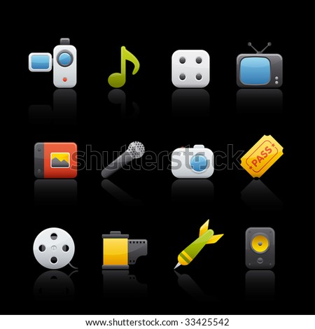Multimedia Icon Set in Black. Vector in Adobe Illustrator EPS 8 for multiple applications.