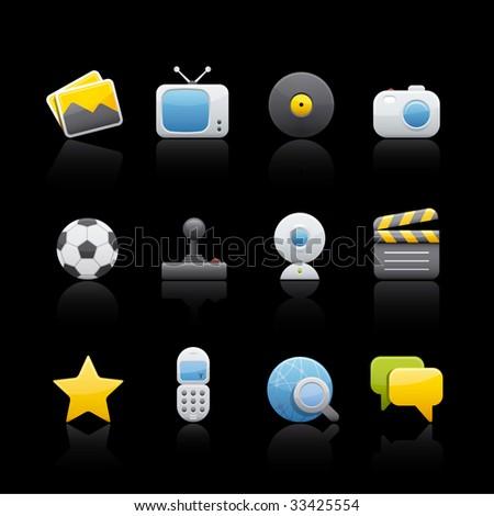 Multimedia Icon Set in Black. Vector in Adobe Illustrator EPS 8 for multiple applications. - stock vector